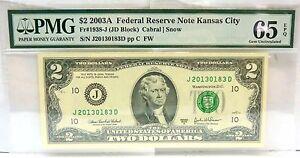 $2 2003A FRN Banknote KANSAS CITY FR# 1938-j PMG 65 GEM UNC