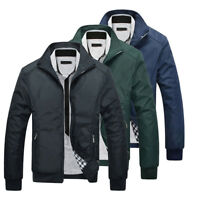Men's Casual Jacket Black/Blue Slim Fit Biker Motorcycle Coat Overcoat Outwear