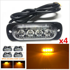 4x12W Ultrathin Amber 4LED Flash Car Truck Emergency Warning Hazard Strobe Light