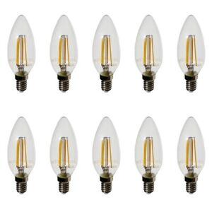 Set 10 Ampoules LED 4W Bougie Verre Transparent V-TAC Douille E14 2700k