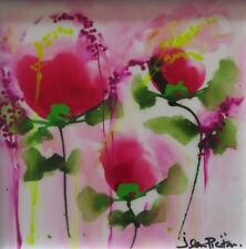 Jean Picton, Dream Catcher Original Bold Abstract Floral Painting Canvas 45x45cm