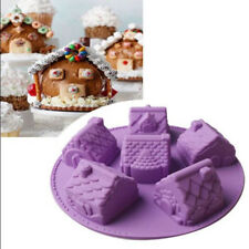3D Christmas Gingerbread House Silicone Mold Chocolate Cake Soap Mould DIY KS
