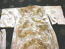 More details for antique japanese kimono dragons  silk heavy fully lined
