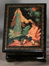 Vintage Russian Lacquer Box Miniature Painting GOLD Signed dated Jewelry Trinket