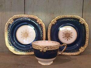 VINTAGE CROWN STAFFORDSHIRE 2 SIDE PLATES & CUP COBALT BLUE & GILT Replacements