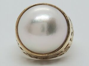 Large 14k Yellow Gold 15mm Fine Mabe Pearl Open Filigree Size 6.5 Dome Ring 8.3g