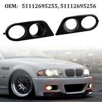 2PCS Car Front Bumper Fog Light Cover Black For BMW E46 M3 1996-2006