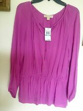 Woman Authentic Michael Kors Wild Orchid Color Blouse, Sz 8, New W Tag