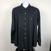 Ralph Lauren Blake Black Mens Dress Button Shirt Size 2XL XXL