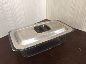 EKCO Hostess Glass Serving Dish with Stainless Steel Lid. VGC.