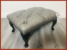 Chesterfield Buttoned Queen Anne Grey Leather Footstool