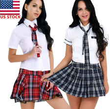 Women School Girl Cosplay Costume Student Uniform Fancy Dress Plaid Outfit Skirt
