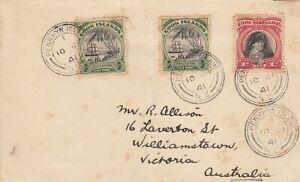 V1589 Penrhyn Islands (Cook Islands) 10 Jan 1941 cds cover Australia, 3 stamps