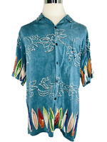 PINEAPPLE CONNECTION Men's Shirt Blue Surfboard Hawaiian Aloha Camp Shirt XL