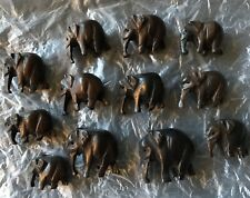Wooden Carved Advent African Elephants 12