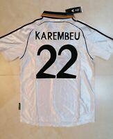 MAGLIA REAL MADRID KAREMBEU 22 STAGIONE 1998 1999 RETRO VINTAGE JERSEY LIGA TOP