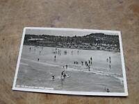 1960 real photographic Devon postcard - Beach scene Paignton