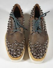 PRADA Taupe Brown Leather Studded Creepers Sneakers