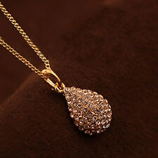 Women Fashion Gold Silver Plated Crystal Pendant Long Chain  Necklace  Ornaments