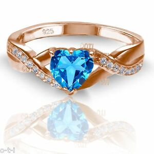 18k Rose Gold Plated Blue Topaz Heart Infinity Celtic Silver Ring