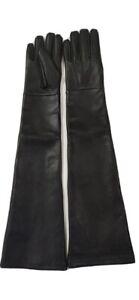 Genuine Lambskin Leather Black Handmade Dominatrix Mistress Opera Long Gloves