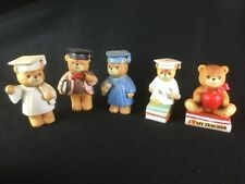 Set of 5 Vintage Enesco Lucy & Me Bear Figures School Graduation 1980's