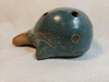 Pre Colombian style clay pottery blue sperm whale whistle flute etched & painted