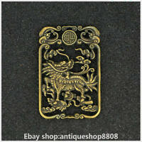 Chinese Ancient Bronze Fengshui Double Kylin Chi-lin Qilin Beast Amulet Pendant