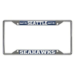 Fanmats NFL Seattle Seahawks Chrome Metal License Plate Frame Delivery 2-4 Days