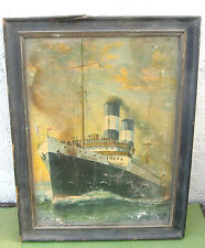 "Richard W Rummell  Listed Artist Oilette on Canvas Steam Ship "" Columbo"""