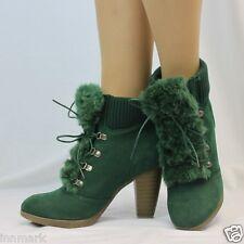 973 Damen Komfort Stiefeletten Schuhe Fell Zunge BLOCKABSATZ SCHNÜREN Gummi Manschette Stiefel