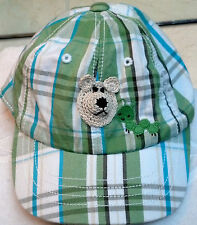 NEW GYMBOREE BASEBALL CAP HAT w/ BEAR 3 6 MONTHS BOYS BABY INFANT GREEN PLAID