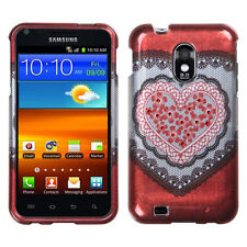 For Samsung Epic 4G Touch D710 Spot Diamond Bling HARD Case Cover Red Heart Lace