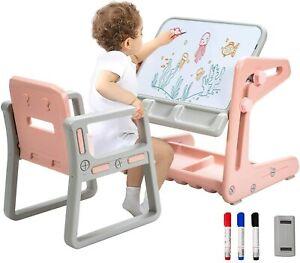 2 in 1 Magnetische Maltafel Kinderschreibtisch Zeichentisch mit Stauraum