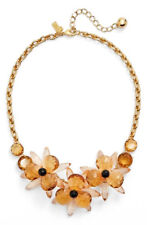 Kate Spade Blooming Brilliant Blossoms Frontal Necklace Gold Plate peach brown
