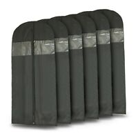 "Plixio 6 Pack 60"" Long Black Garment Bags for Clothing Storage of Dresses Suits"