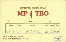 OLD VINTAGE MP4TBO SHARJAH TRUCIAL OMAN AMATEUR RADIO QSL CARD
