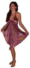 PINK PURPLE SILKY PRINTED ART SILK DRESS top S M L 10 12 14 16 boho hippy beach
