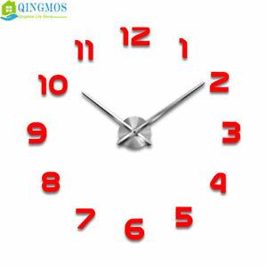 DIY Large Wall Clock Acrylic Stickers Watch Decor Quartz Needle Living Room m004