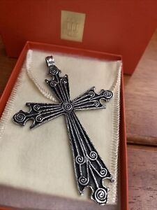 """vintage Retired James Avery 925SS Ancient Syrian Cross Pendant 3.75"""" Gift Box XL"""