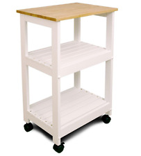 Natural Wood Top Rolling Kitchen Trolley Microwave Utility Cart w/ Shelf Storage