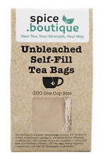100 spice.boutique UNBLEACHED Self Fill Tea Bags, Drawstring, Eco friendly, UK