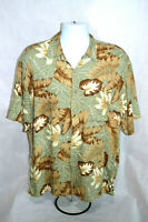 Pierre Cardin Men's Hawaiian Short Sleeve Shirt Button Up Size L 100% Rayon