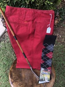 Golf knickers  32  DOCKERS!  Cotton! NEW Argyle Knicker Socks!  SHARP!