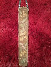 ANTIQUE QI'ING 19TH CHINESE GOLD THREAD EMBROIDERED SILK FAN CASE EMBROIDERY #1
