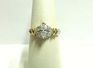 diamond ring 14kt white gold w/yellow gold accents sz 6 wgt 5.9 grams tcw .68pts