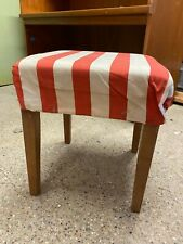 Vintage Small Wooden Stool Footstool Children's Red & White Striped Top