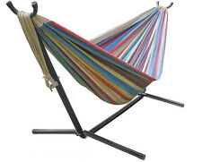 Brazilian Double Hammock with stand - Blue, Sand, Purple, Red Stripes