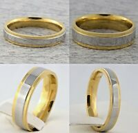4mm 6mm Stainless Steel Mens & Womens Gold & Silver Plated Wedding Band New Ring