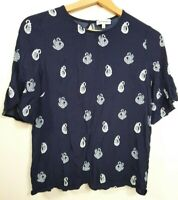Warehouse Top Size 10 UK Navy with White Swans
